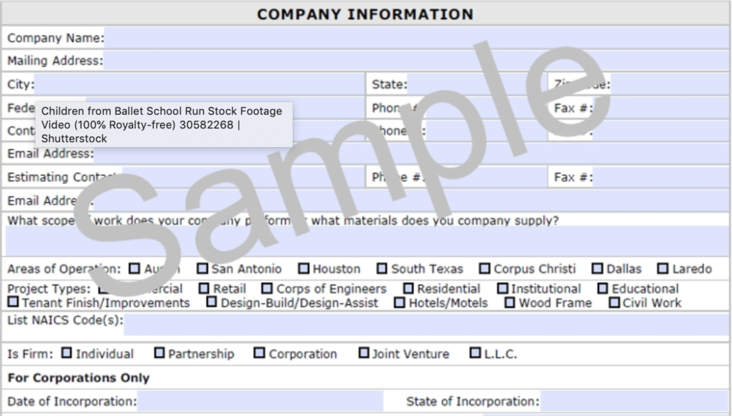 Sample of a Company Info Form   Allbrite Construction